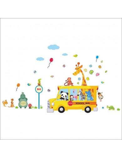 Vinilos Decorativos Autobús escolar de animales. Wall Stickers Vinyl Decal Bedroom HM01314 Vinilos Decorativos, Stickers