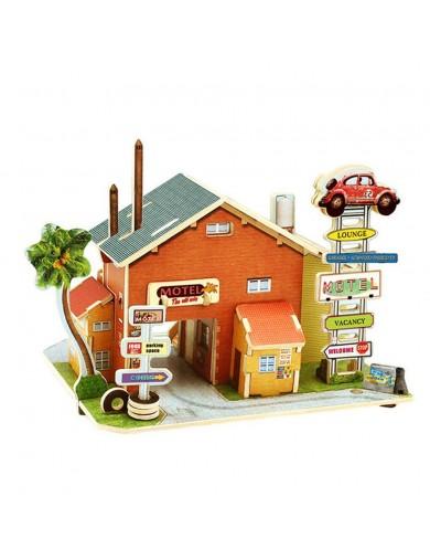 Puzzle 3D Madera Motel 52 piezas. Maqueta Diorama F136 Puzzles y Rompecabezas
