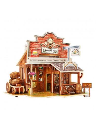 Puzzle 3D Madera Bar del Oeste 48 piezas. Maqueta Diorama F138 Puzzles y Rompecabezas