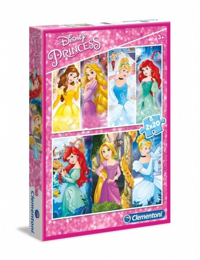 2 Puzzles 20 piezas Princesas Disney. Puzzle clementoni 151834 Puzzles y Rompecabezas