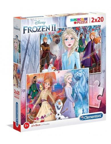 Frozen II, 2 puzzles 20 piezas, Elsa, Anna, Olaf. Puzzles clementoni 153380 Puzzles y Rompecabezas