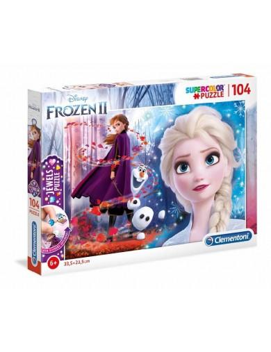 Puzzle 104 piezas Frozen 2. Elsa, Anna y Olaf. Con Joyas. Puzzles Clementoni 153375 Puzzles y Rompecabezas