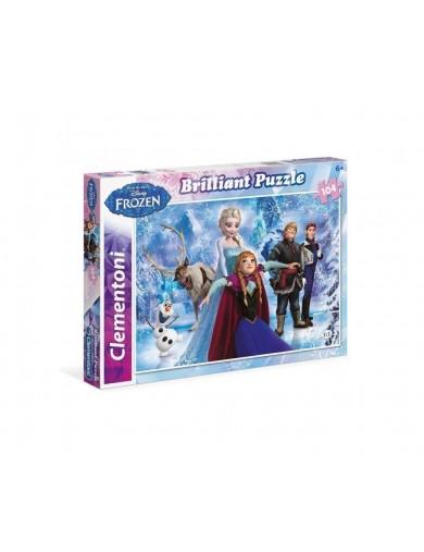 Frozen puzzle 104 piezas, Elsa, Anna y Olaf. Brillante. Puzzles clementoni 153375 Puzzles y Rompecabezas