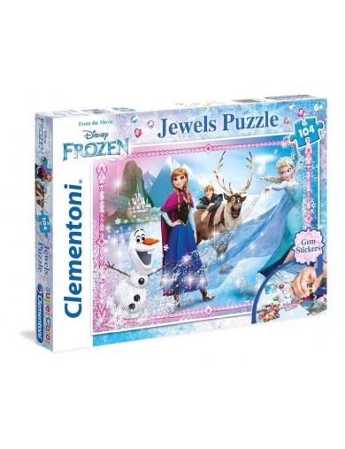 Frozen puzzle 104 piezas, Elsa, Anna y Olaf. Con Joyas. Puzzles clementoni 147424 Puzzles y Rompecabezas