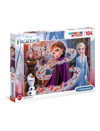 Frozen 2, puzzle 104 piezas Clementoni, Glitter effect 153373 Puzzles y Rompecabezas