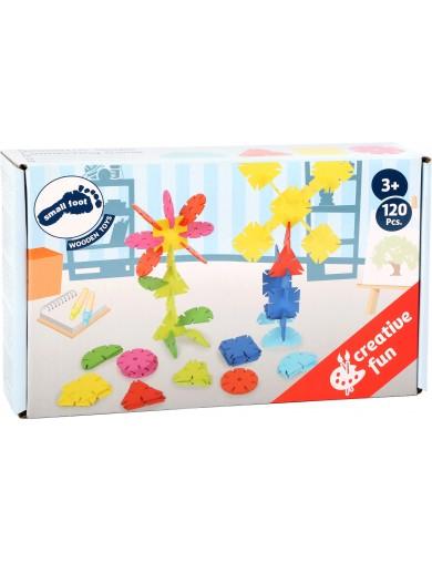 Juego Construccion Infantil de Madera. 120 Flores con formas geometricas para enlazar. juguetes de madera. construcciones niñ...
