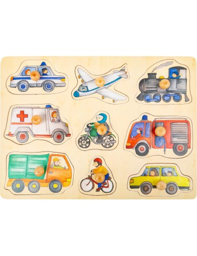 Puzzle de madera para insertar Vehiculos de la ciudad. Puzzle infantil. juguetes bebes. Juguetes madera. Puzzle madera bebe L...