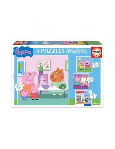 EDUCA, Puzzle Peppa Pig Progresivo 12+16+20+25 Piezas. Puzzles infantiles 147539 Puzzles y Rompecabezas
