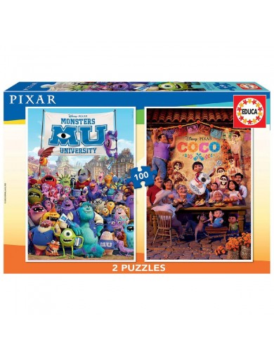 EDUCA, 2 Puzzles PIXAR (COCO + MONSTERS UNIVERSITY) 100 Piezas. Puzzles infantiles Disney 8412668186354 Puzzles y Rompecabezas