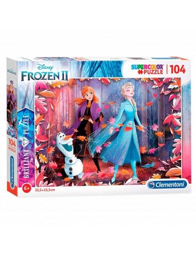 Frozen 2, Puzzle 104 piezas Brillante. Elsa, Anna, Olaf. Puzzles Clementoni 2016171 Puzzles y Rompecabezas