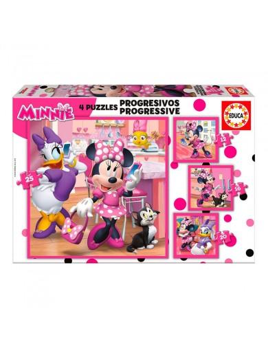 EDUCA, 4 Puzzles progresivos Minie ayudantes felices 12+16+20+25 Piezas. Puzzles infantiles Disney 17630 Puzzles y Rompecabezas