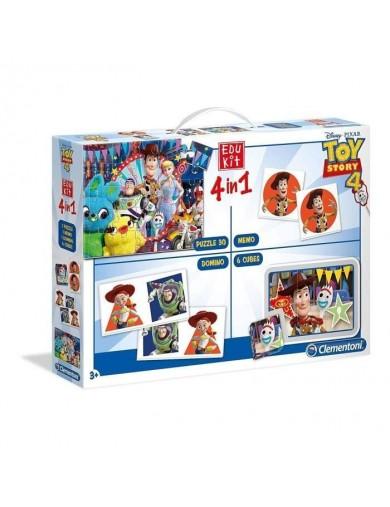Clementoni. Edukit 4 en 1 Toy Story. Juegos de mesa para familia 180585 Puzzles y Rompecabezas