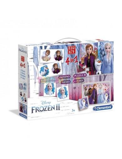 Clementoni. Edukit 4 en 1 Frozen 2. Juegos de mesa para familia 180592 Puzzles y Rompecabezas