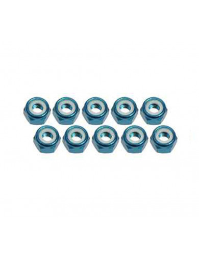 Tuercas Autoblocantes 4mm Aluminio (3RAC-N40/LB). Aluminum Lock Nuts 3RACING N40/LB Recambios Team Magic